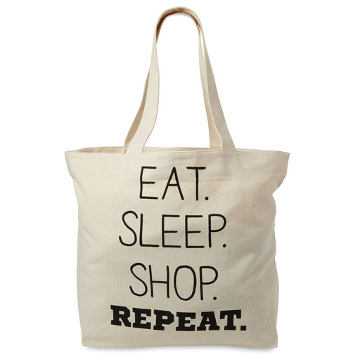 eat, sleep, shop, repeat canvas tote bag, extra large with zipper pocket, posh and pop