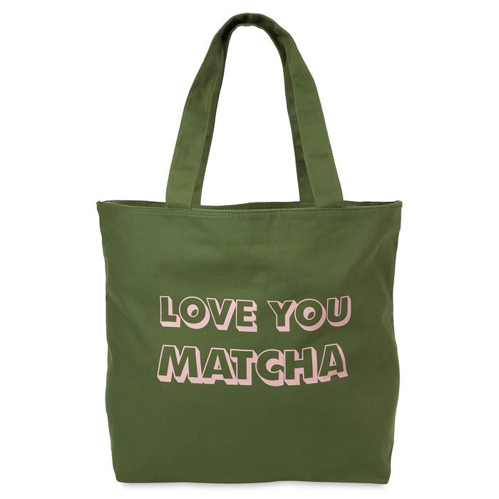 green and pink canvas tote bag love you matcha posh and pop