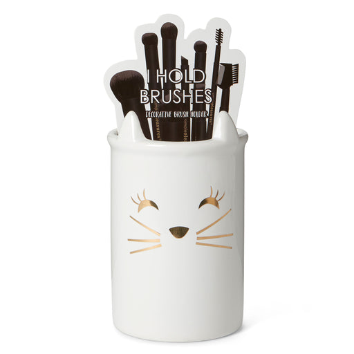 ceramic cat make up brush organizer posh and pop