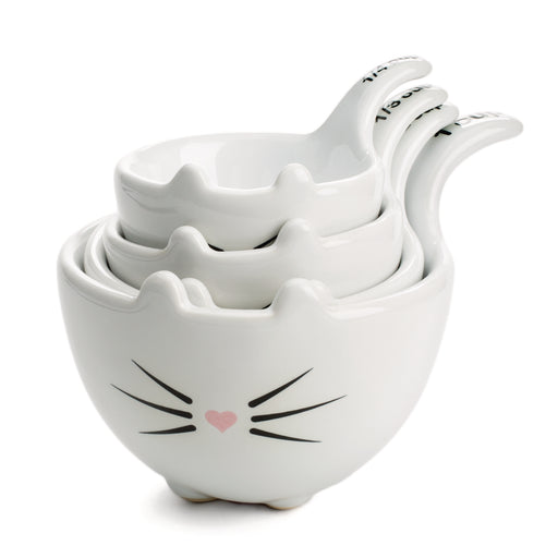 white ceramic cat shaped measuring cups posh and pop