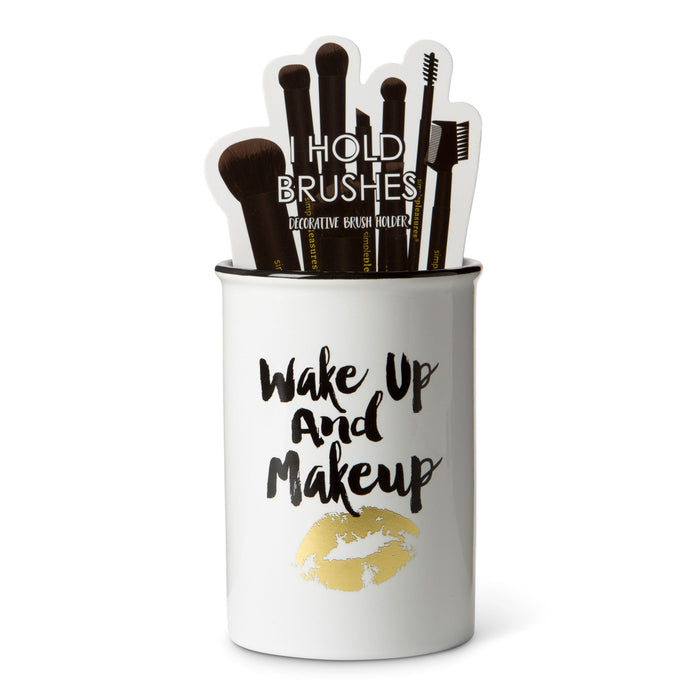 ceramic beauty brush holder wake up and make up posh and pop