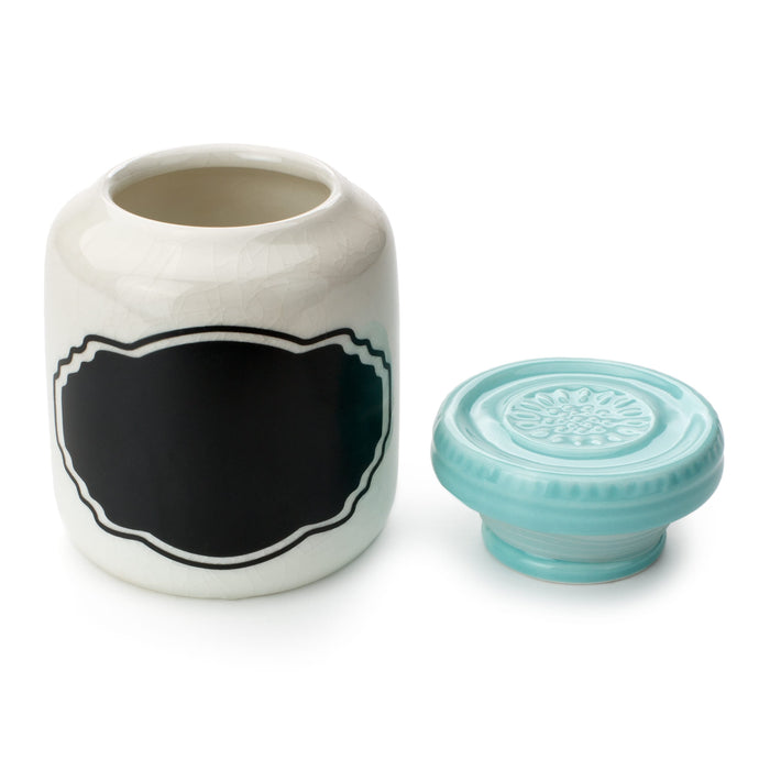 ceramic jar with chalkboard label and blue lid posh and pop