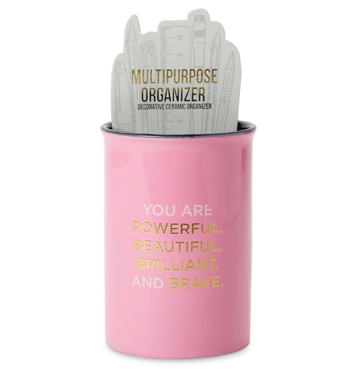 you are powerful pink ceramic makeup brush organizer posh and pop