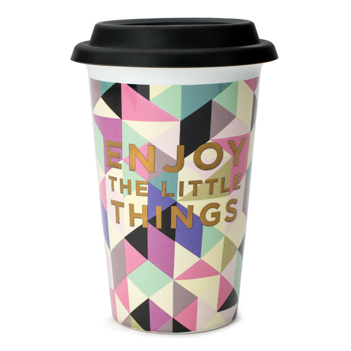 enjoy the little things ceramic travel mug posh and pop