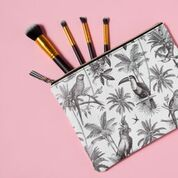 clutch cosmetic case pouch tropical black and white birds palm trees posh and pop