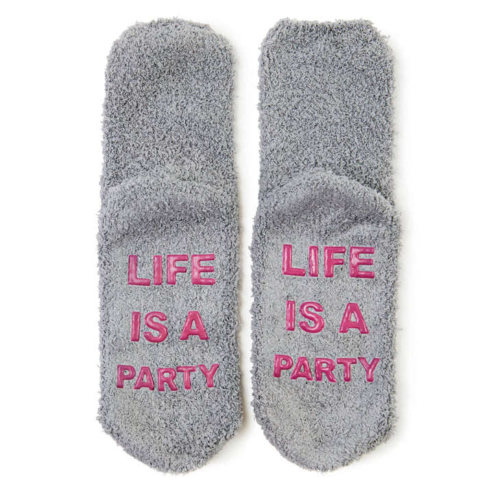 life is a party cozy socks - posh and pop