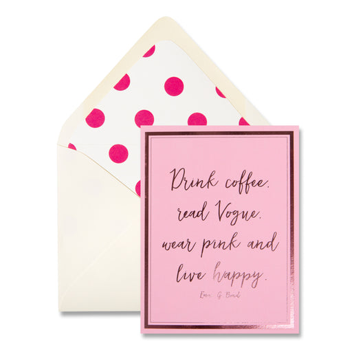 drink coffee pink greeting card, note card