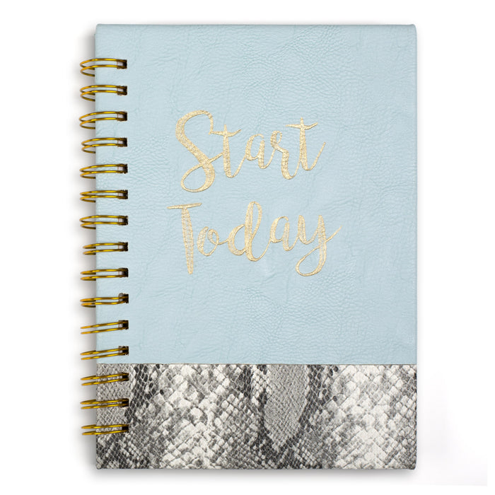 light blue and snake skin hard cover spiral notebook posh and pop