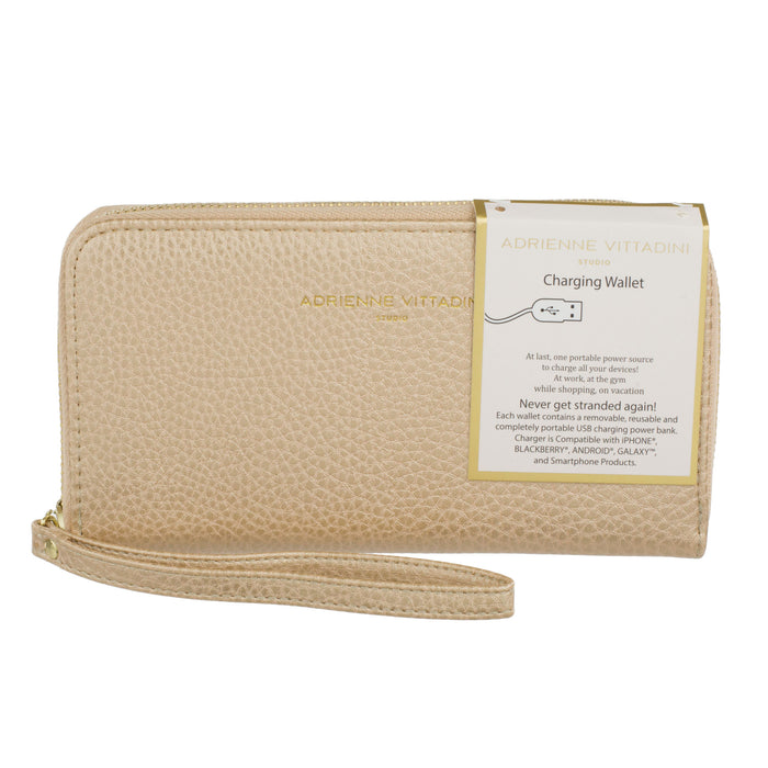 gold pebble faux leather wristlet with smart phone charger posh and pop