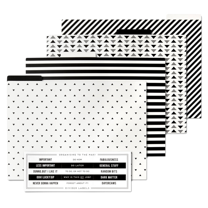 4 pack of black and white file folders posh and pop