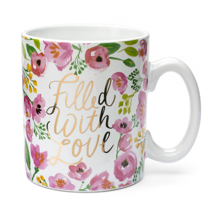filled with love floral ceramic coffee mug posh and pop