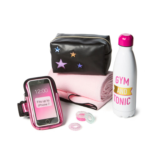 fitness gift idea with water bottle, towel, phone arm band, hair ties
