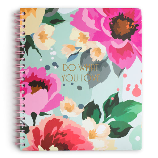 large floral spiral notebook with lined pages