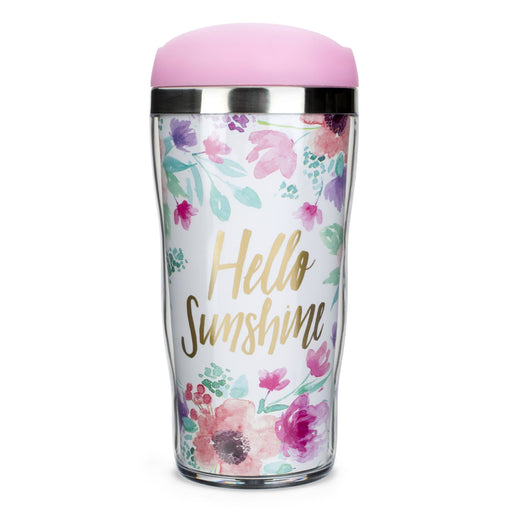hello sunshine plastic and stainless steel travel mug posh and pop