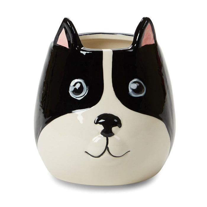 bull dog candle, vanilla caramel scented, ceramic dog candle, posh and pop