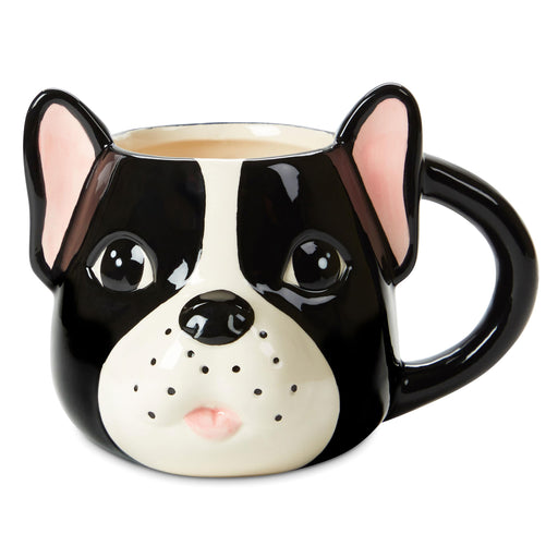 coffee mug, french bulldog face, ceramic coffee mug, 20 ounce mug, posh and pop