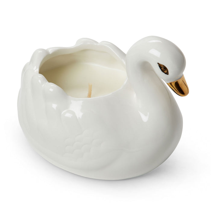 fresh lavender scented swan shaped ceramic candle posh and pop