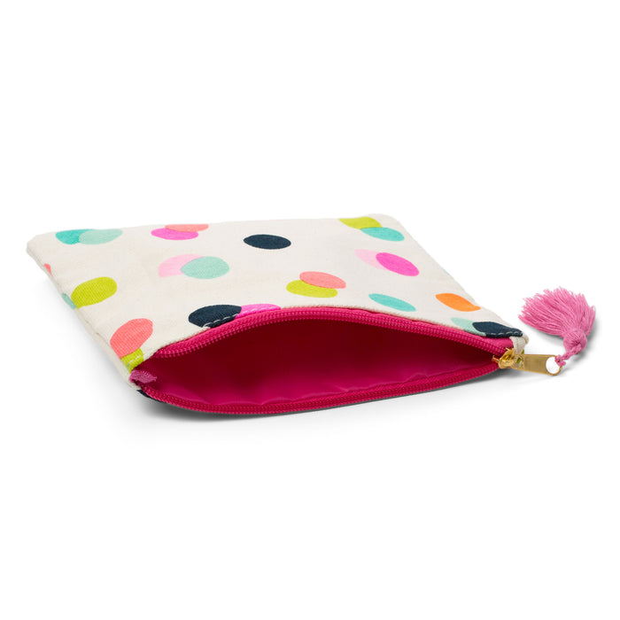 polka dot canvas pouch cosmetic bag