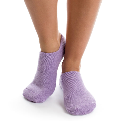 Purple gel infused bootie ankle socks with non skid bottoms posh and pop