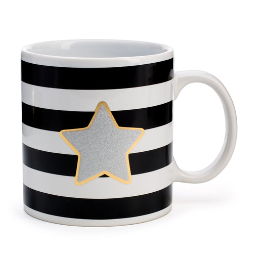 novelty mug black and white stripes with glitter star for coffee and tea