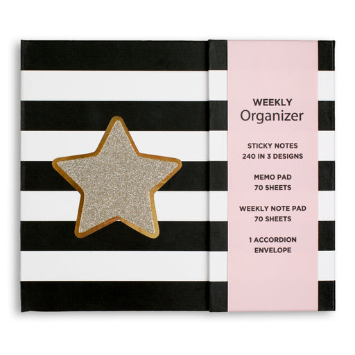 Glitter star striped weekly organizer from posh and pop