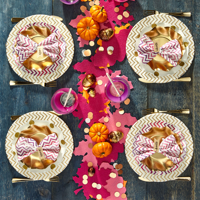 gold-paper-plate-disposable-polkadot-pink-chevron-party-hostess-gather-celebrate-family-posh-and-pop