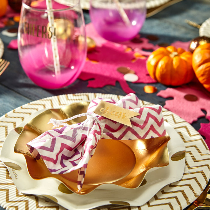 gold-paper-plate-disposable-polkadot-pink-chevron-party-hostess-gather-celebrate-posh-and-pop