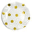 white paper plates with shiny gold polkadots, posh and pop