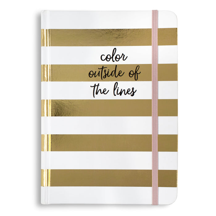 color outside the lines metallic gold striped journal posh and pop