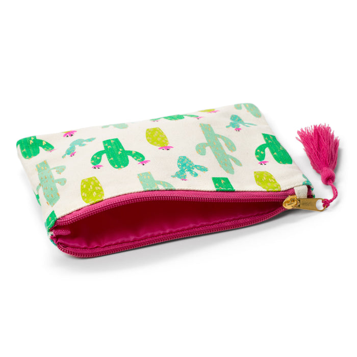 cactus print, neon and bright, zipper with tassel, cosmetic pouch, makeup bag