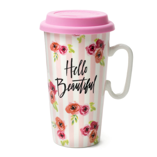 hello beautiful ceramic travel mug from posh and pop