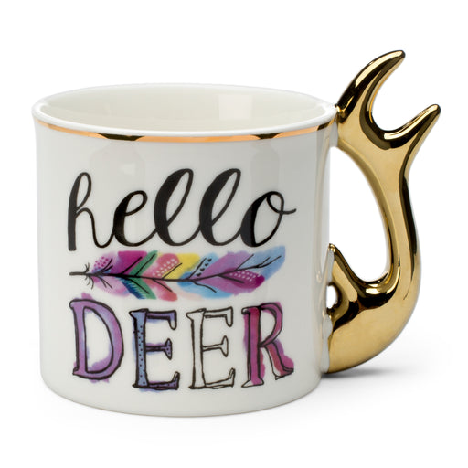 hello deer colorful coffee mug with gold handle posh and pop
