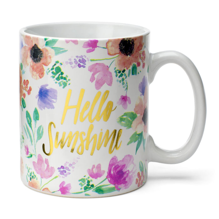hello sunshine floral coffee mug posh and pop