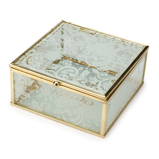 jewelry box and catch all box, lace pattern, posh and pop