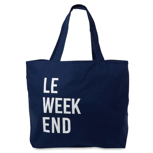le weekend blue canvas tote bag with zipper pocket posh and pop
