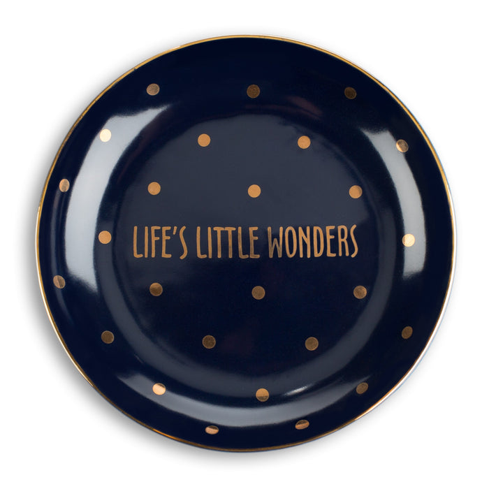 life's little wonders black and gold ceramic trinket tray posh and pop
