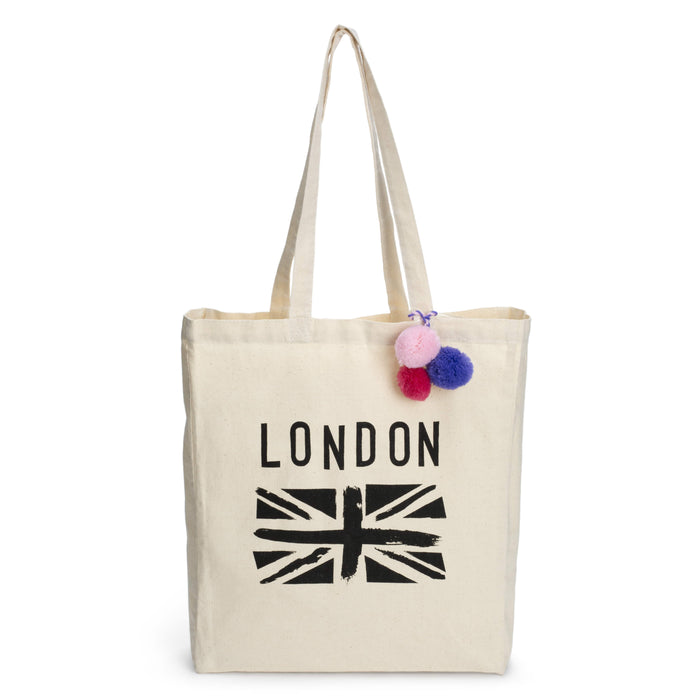 canvas tote with british flag posh and pop