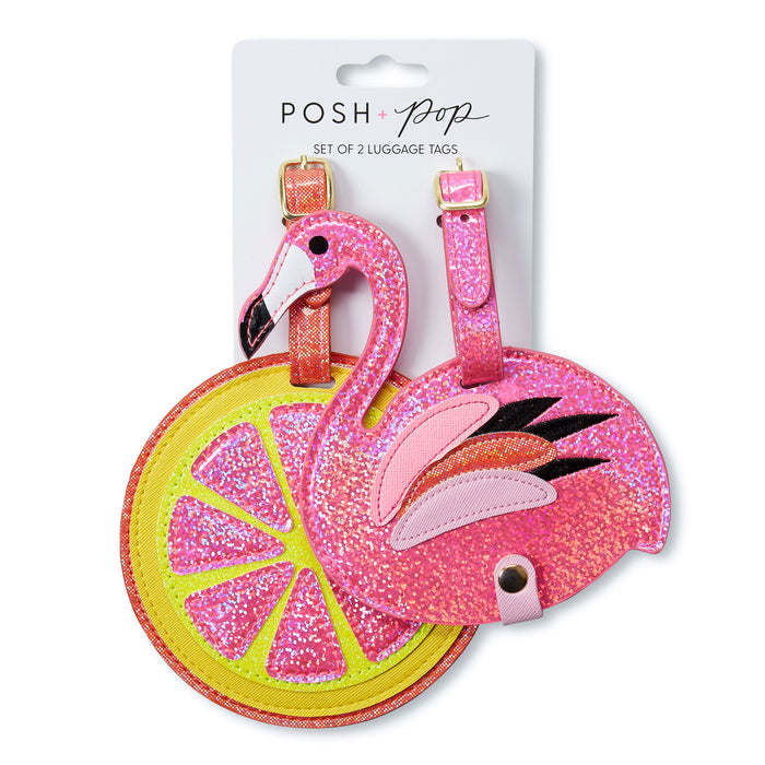 flamingo and citrus luggage tags bright and sparkly posh and pop