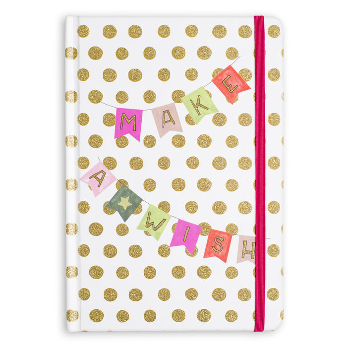 make a wish glitter hard cover bound journal posh and pop