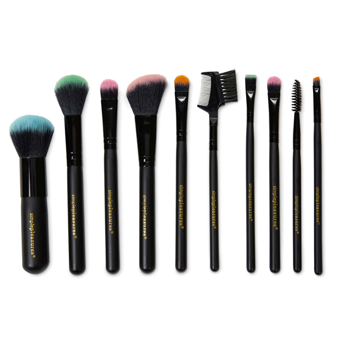 make up brush collection, set of 10 make up brushes, posh and pop