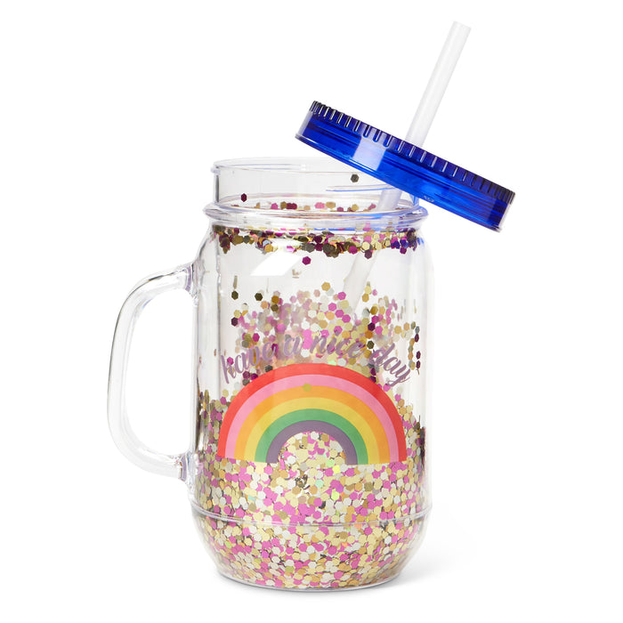 mason jar cup with straw rainbow and confetti posh and pop