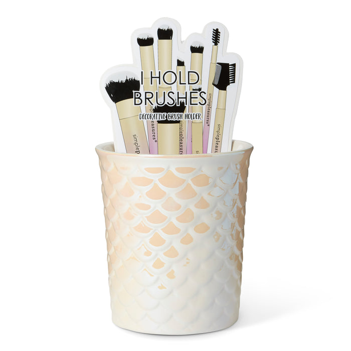 mermaid scales makeup brush holder posh and pop