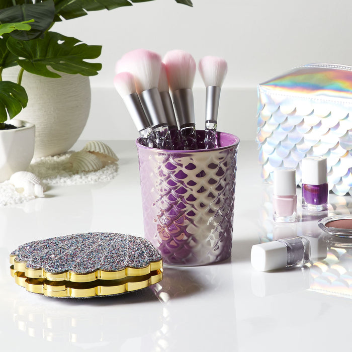 mermaid scales brush holder - lifestyle view - posh and pop