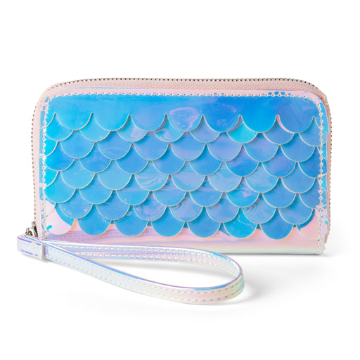 mermaid scales wristlet wallet iridescent silver