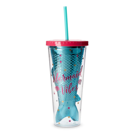blue and pink mermaid vibes travel cup with straw