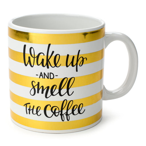 metallic gold striped novelty mug for tea and coffee