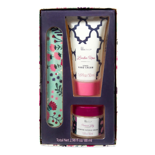 scented manicure set, hand cream, cuticle cream, nail file, posh and pop