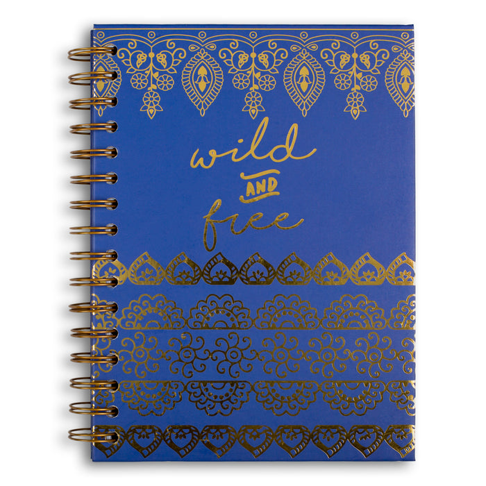 wild and free navy blue spiral notebook posh and pop