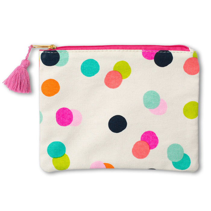 cute neon confetti cosmetic bag