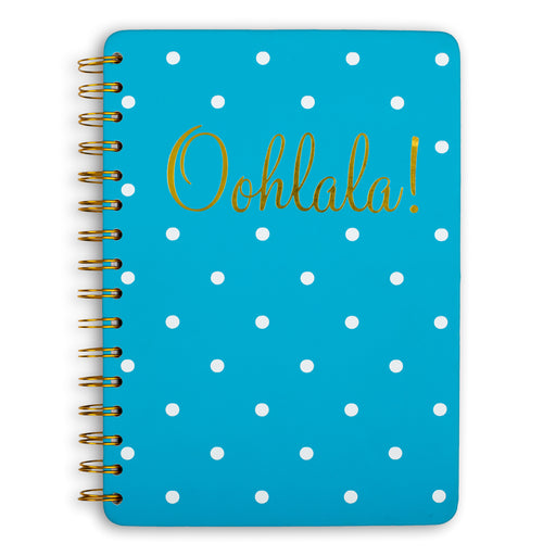 ooh lala blue had cover spiral notebook with white polkadots posh and pop